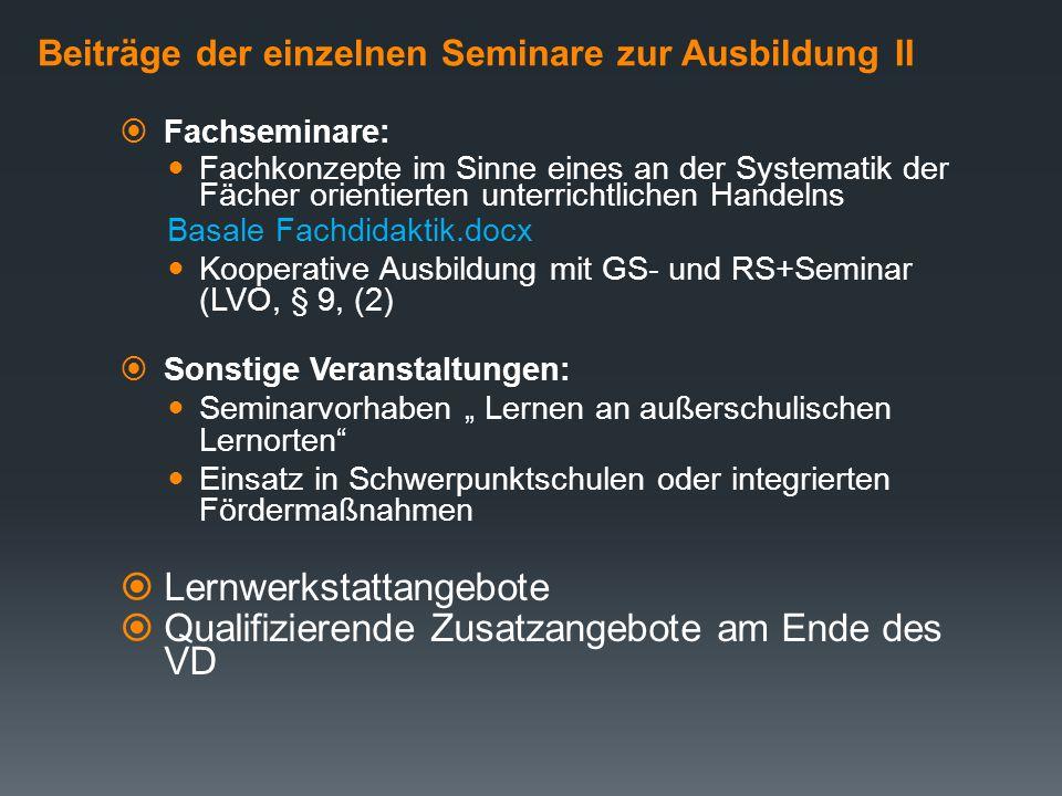 Beiträge der einzelnen Seminare zur Ausbildung II