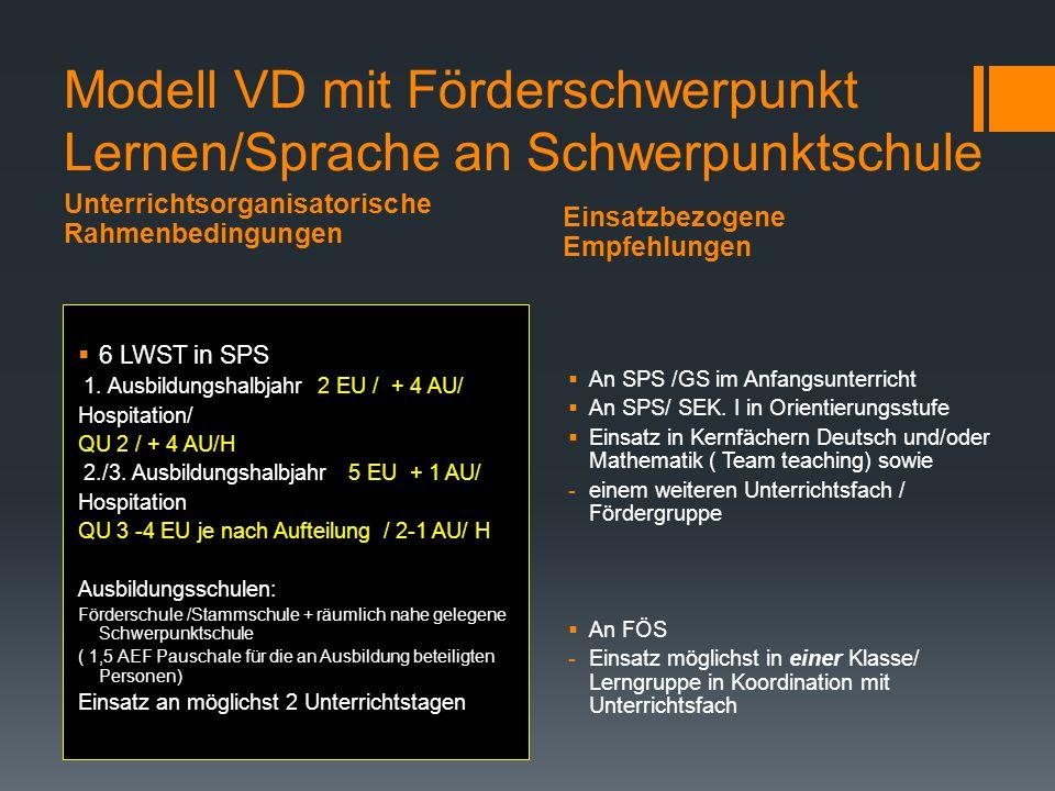 Modell VD mit Förderschwerpunkt Lernen/Sprache an Schwerpunktschule