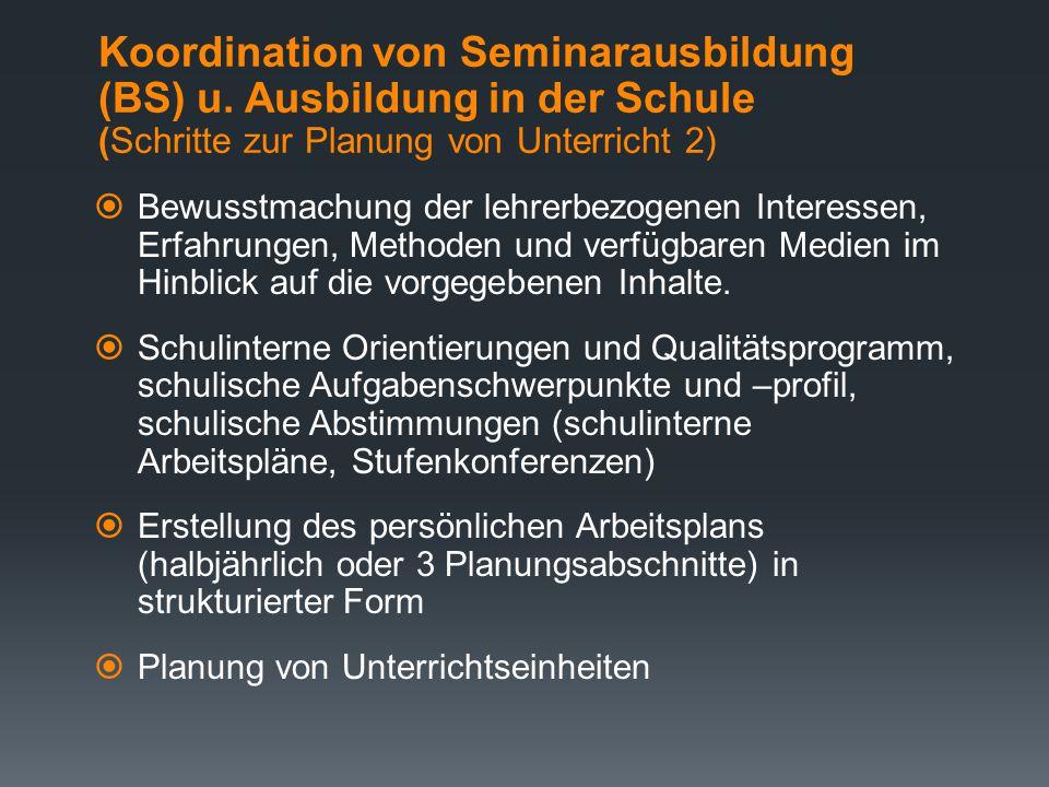 Koordination von Seminarausbildung (BS) u
