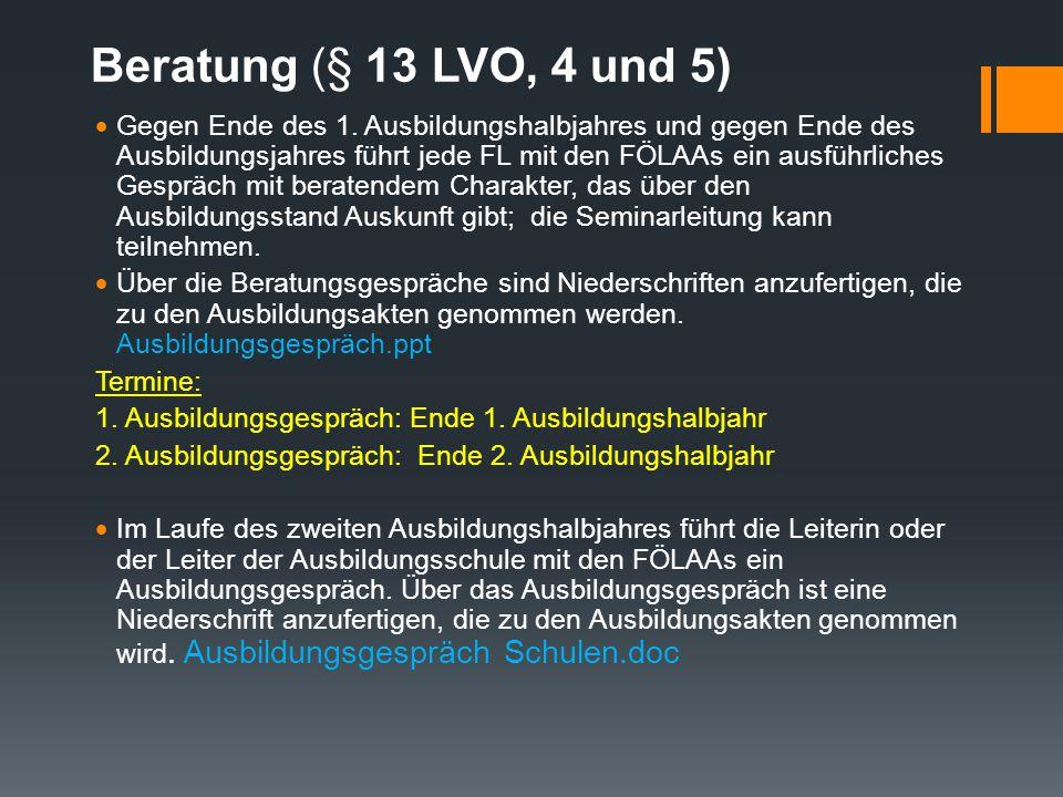 Beratung (§ 13 LVO, 4 und 5)