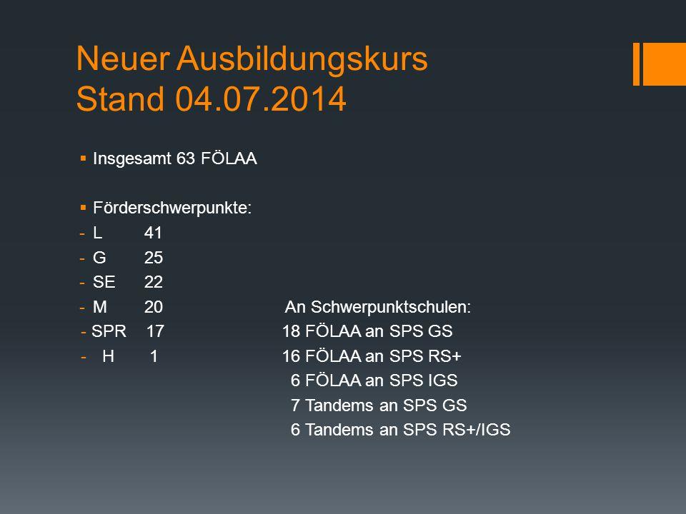Neuer Ausbildungskurs Stand 04.07.2014