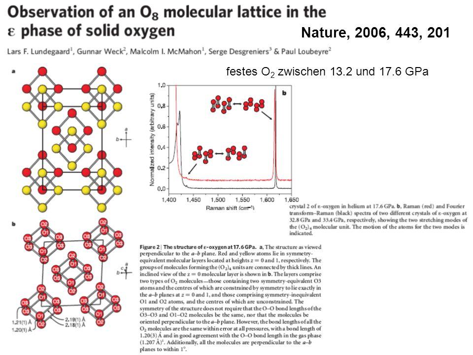 Nature, 2006, 443, 201 festes O2 zwischen 13.2 und 17.6 GPa