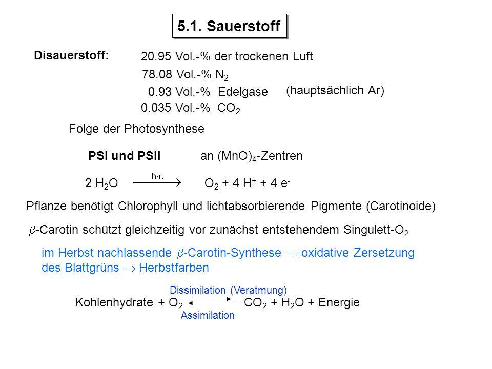 5.1. Sauerstoff Disauerstoff: 20.95 Vol.-% der trockenen Luft