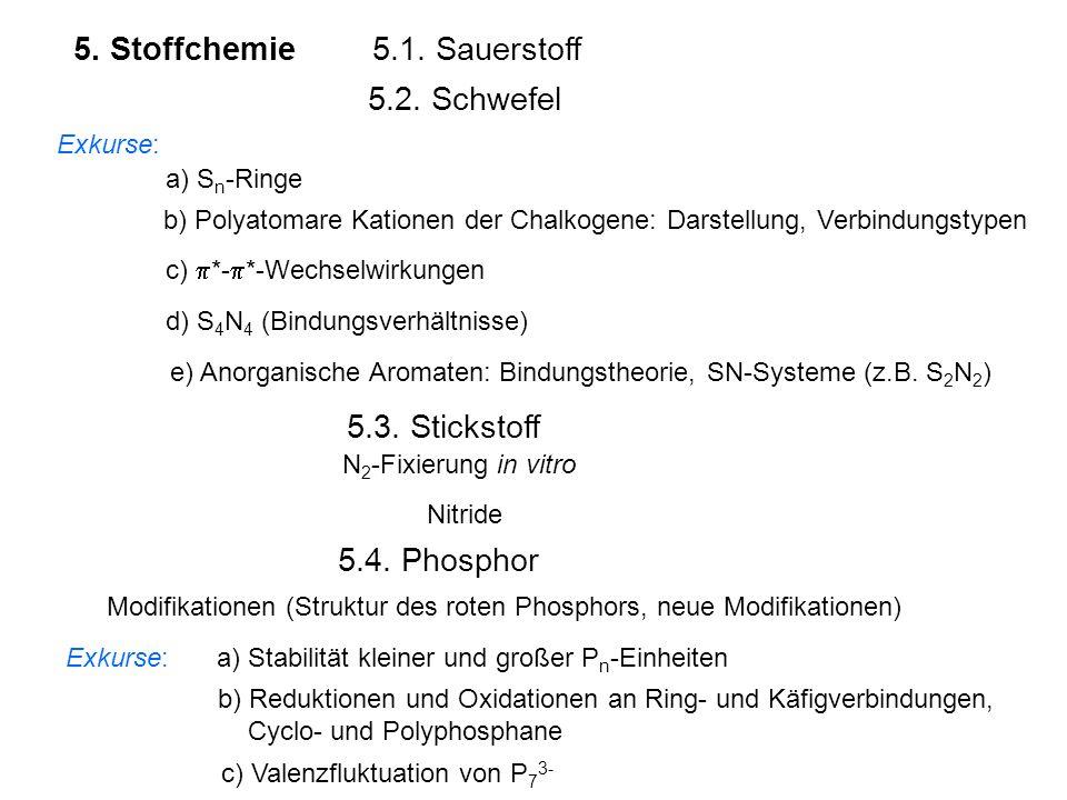 5. Stoffchemie 5.1. Sauerstoff 5.2. Schwefel 5.3. Stickstoff