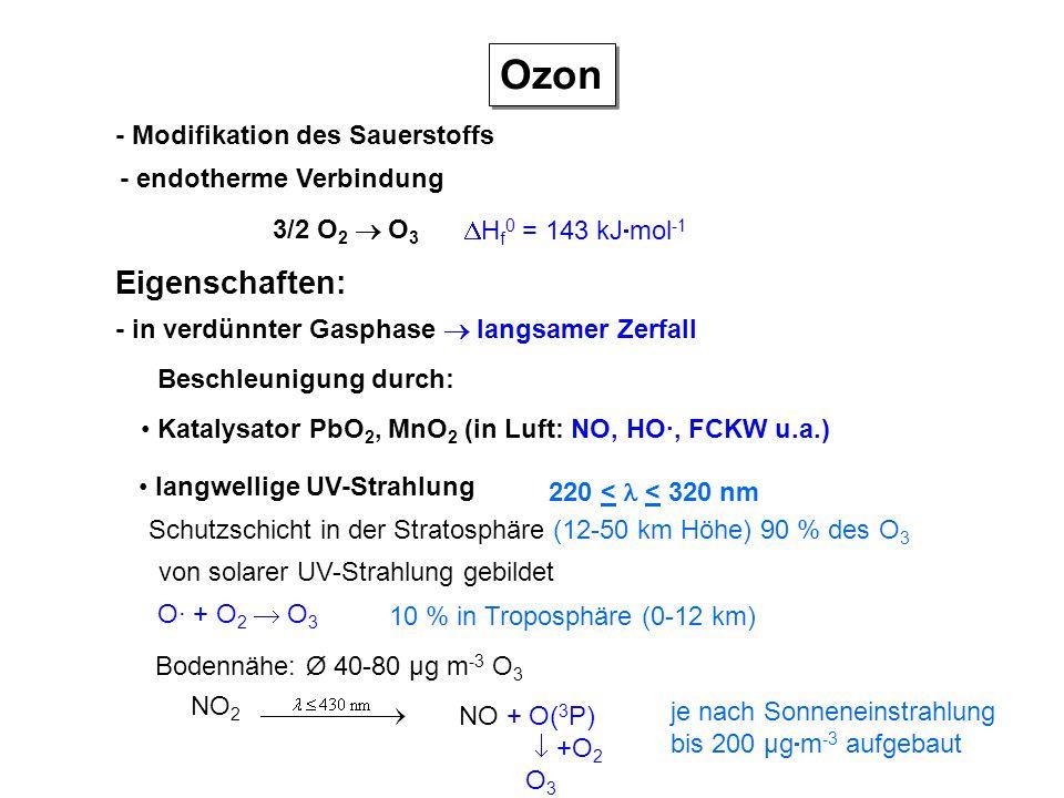 Ozon Eigenschaften: - Modifikation des Sauerstoffs