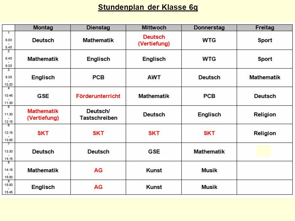 Stundenplan der Klasse 6g