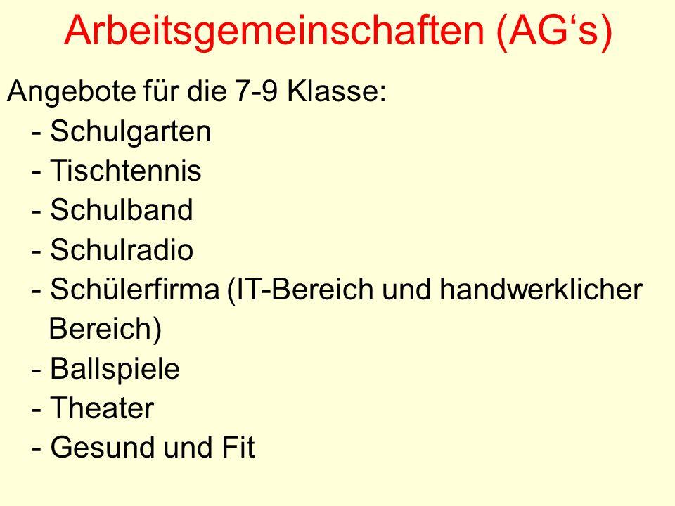 Arbeitsgemeinschaften (AG's)