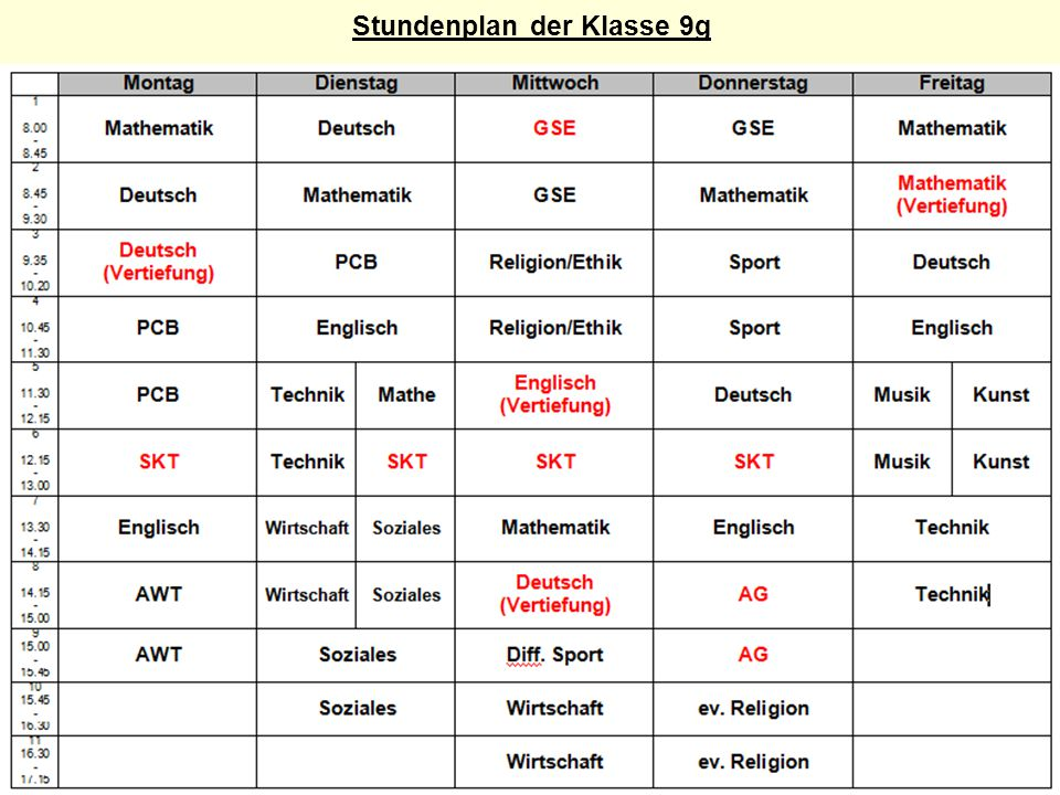 Stundenplan der Klasse 9g