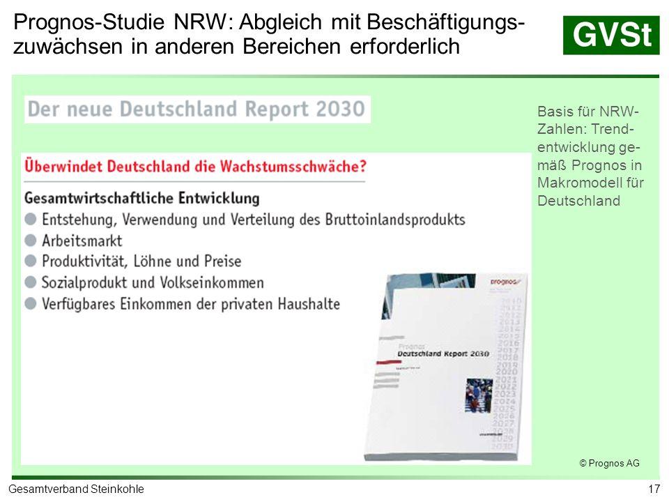 Prognos-Studie NRW: Entwicklung der Erwerbstätig-keit im Ruhrgebiet bis 2020 mit/ohne Ruhrbergbau