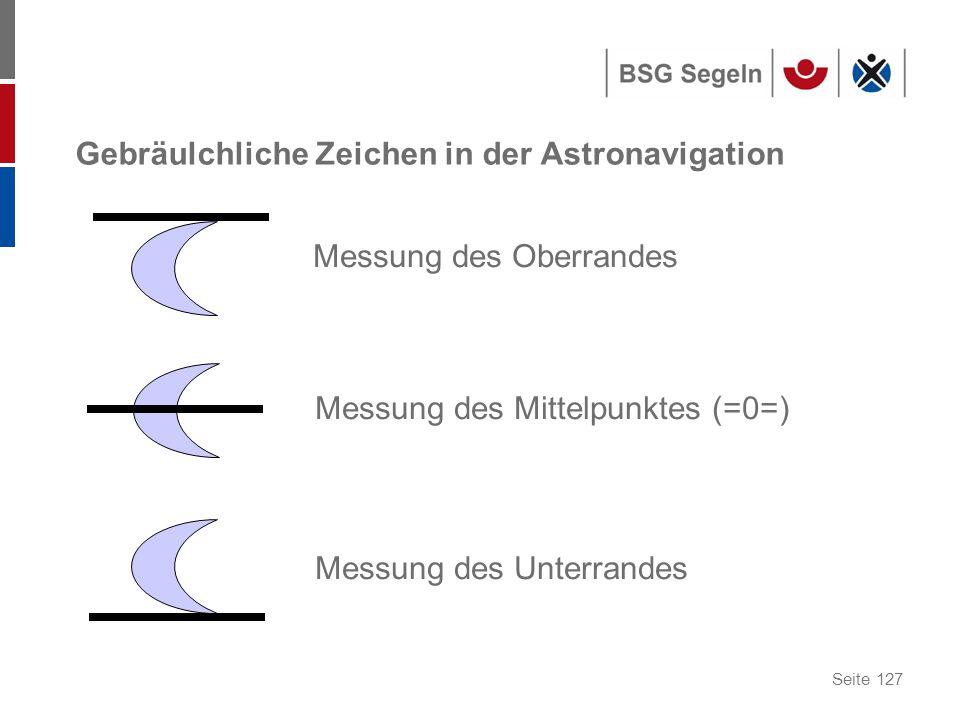 Gebräulchliche Zeichen in der Astronavigation