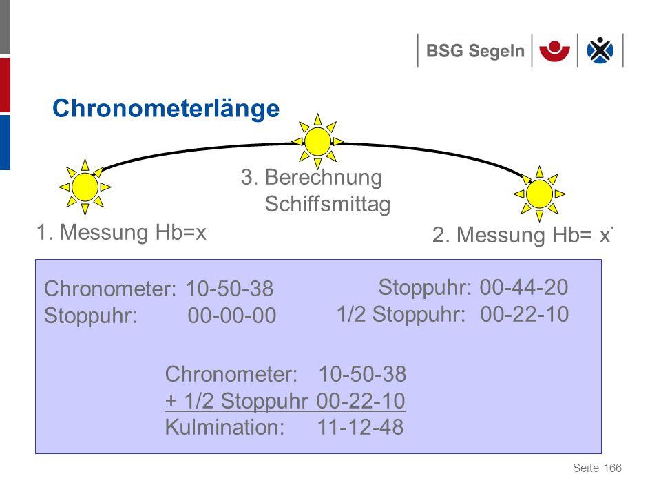 Chronometerlänge 3. Berechnung Schiffsmittag 1. Messung Hb=x
