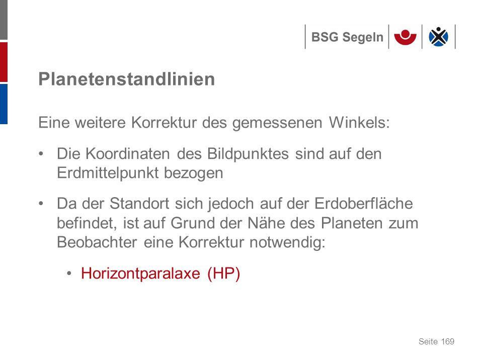 Planetenstandlinien Eine weitere Korrektur des gemessenen Winkels: