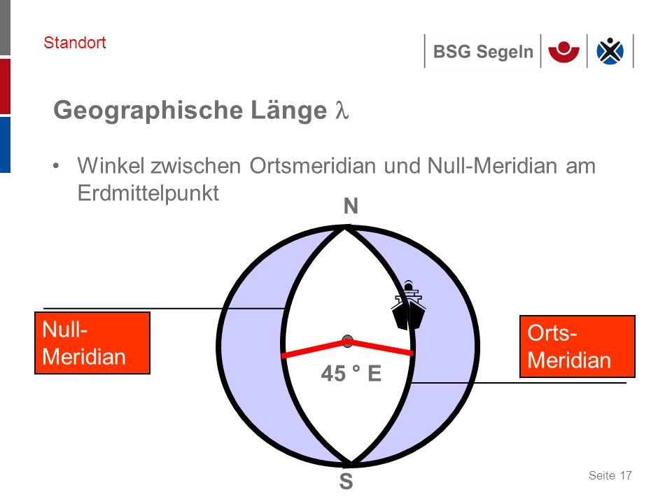 Standort Geographische Länge  Winkel zwischen Ortsmeridian und Null-Meridian am Erdmittelpunkt. N.