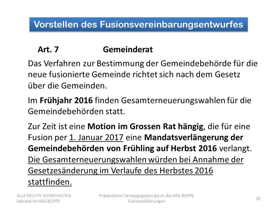 Vorstellen des Fusionsvereinbarungsentwurfes