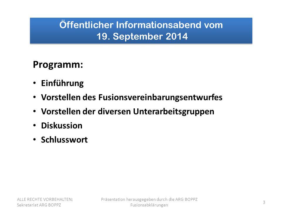 Programm: Öffentlicher Informationsabend vom 19. September 2014