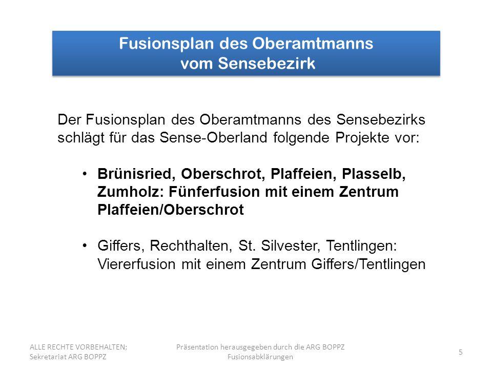 Fusionsplan des Oberamtmanns vom Sensebezirk