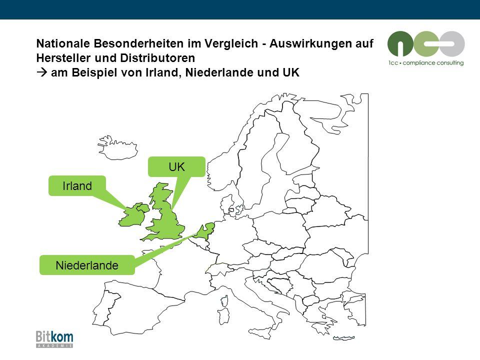 Nationale Besonderheiten im Vergleich - Auswirkungen auf Hersteller und Distributoren  am Beispiel von Irland, Niederlande und UK