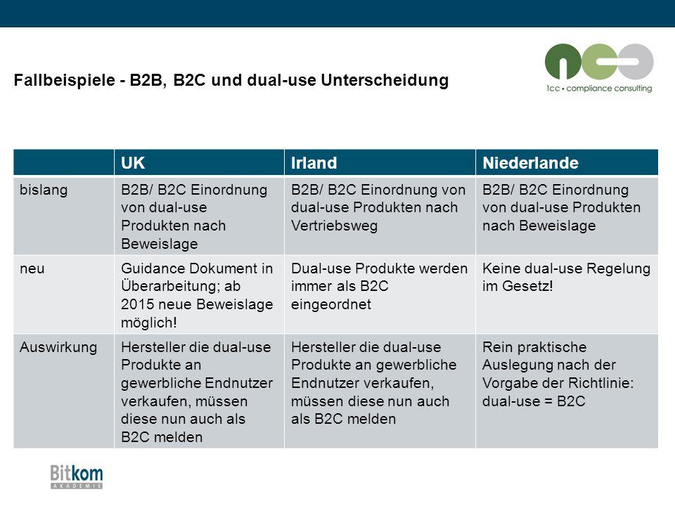 Fallbeispiele - B2B, B2C und dual-use Unterscheidung UK Irland