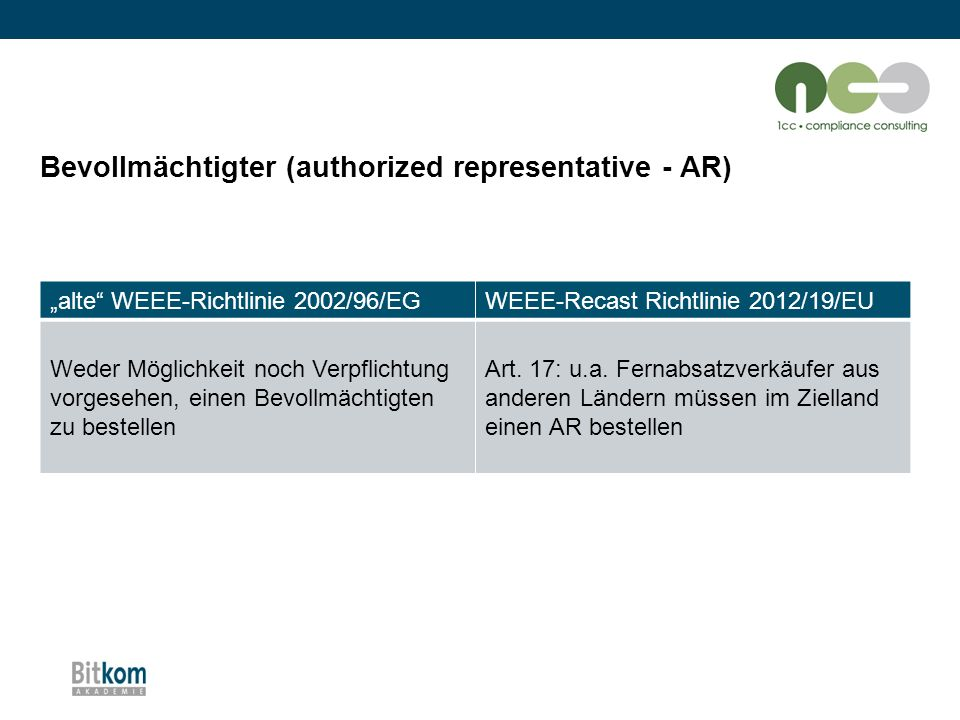 Bevollmächtigter (authorized representative - AR)