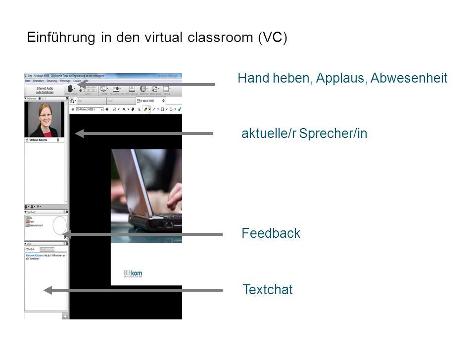 Einführung in den virtual classroom (VC)