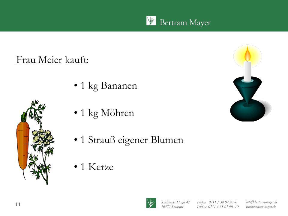 Frau Meier kauft: 1 kg Bananen 1 kg Möhren 1 Strauß eigener Blumen 1 Kerze