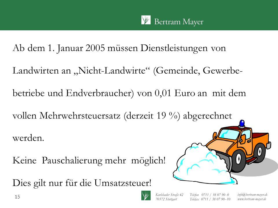 """Ab dem 1. Januar 2005 müssen Dienstleistungen von Landwirten an """"Nicht-Landwirte (Gemeinde, Gewerbe-betriebe und Endverbraucher) von 0,01 Euro an mit dem vollen Mehrwehrsteuersatz (derzeit 19 %) abgerechnet werden."""