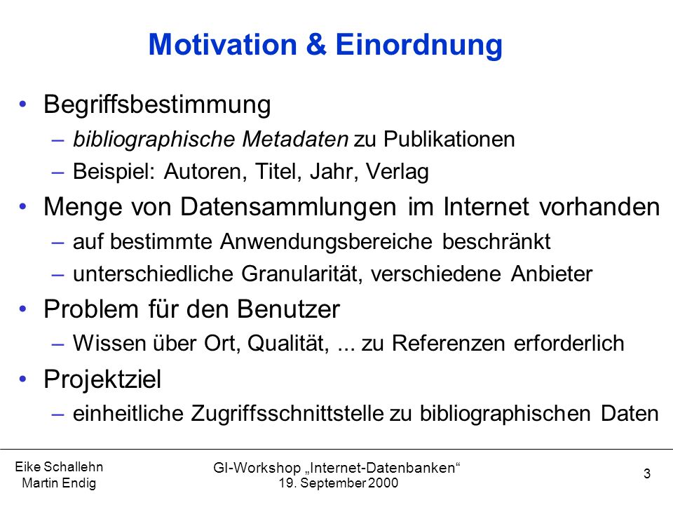 Motivation & Einordnung
