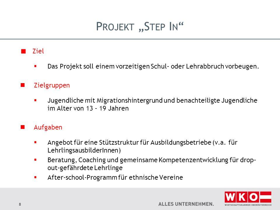 """Projekt """"Step In Ziel. Das Projekt soll einem vorzeitigen Schul- oder Lehrabbruch vorbeugen. Zielgruppen."""