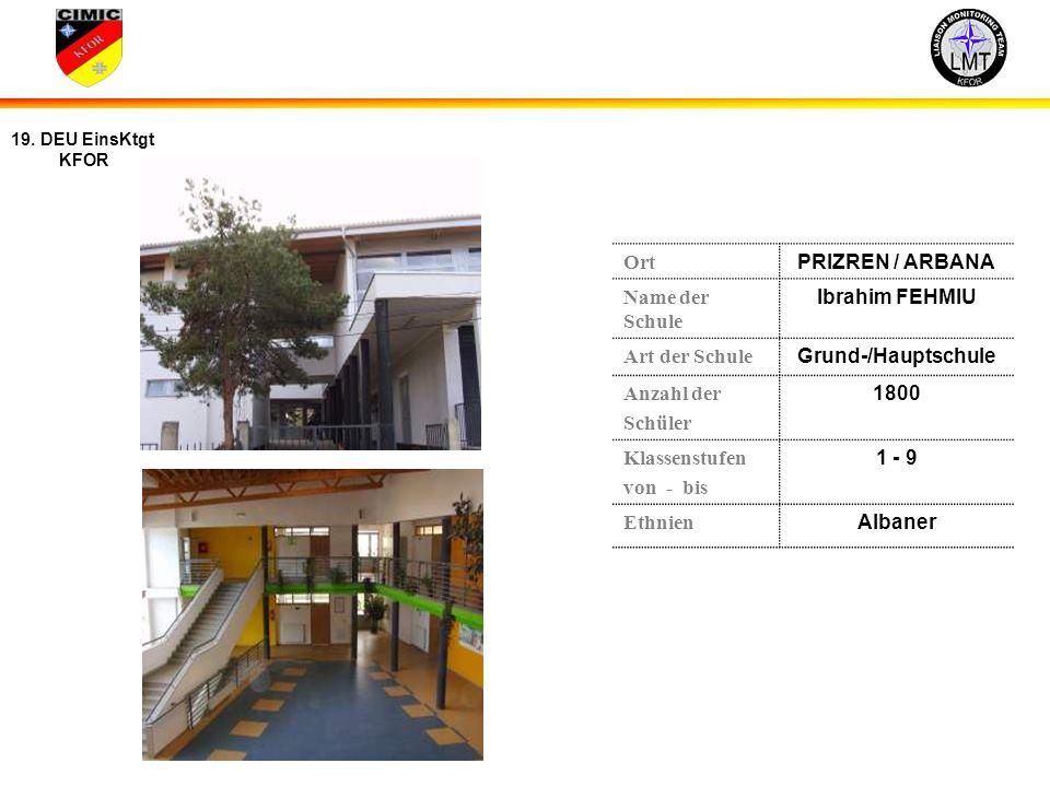 Ort PRIZREN / ARBANA. Name der Schule. Ibrahim FEHMIU. Art der Schule. Grund-/Hauptschule. Anzahl der.