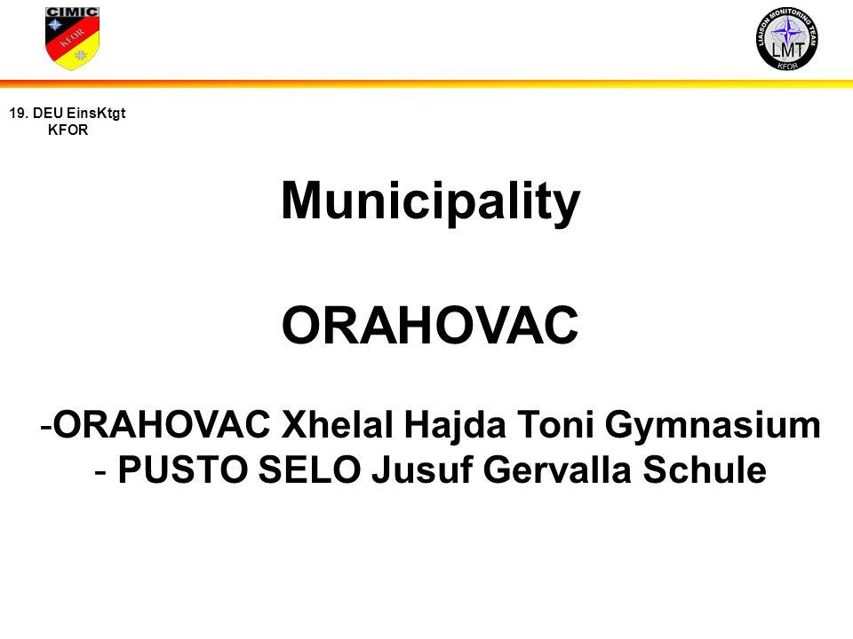 ORAHOVAC Xhelal Hajda Toni Gymnasium PUSTO SELO Jusuf Gervalla Schule