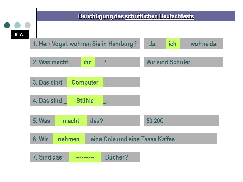 Berichtigung des schriftlichen Deutschtests