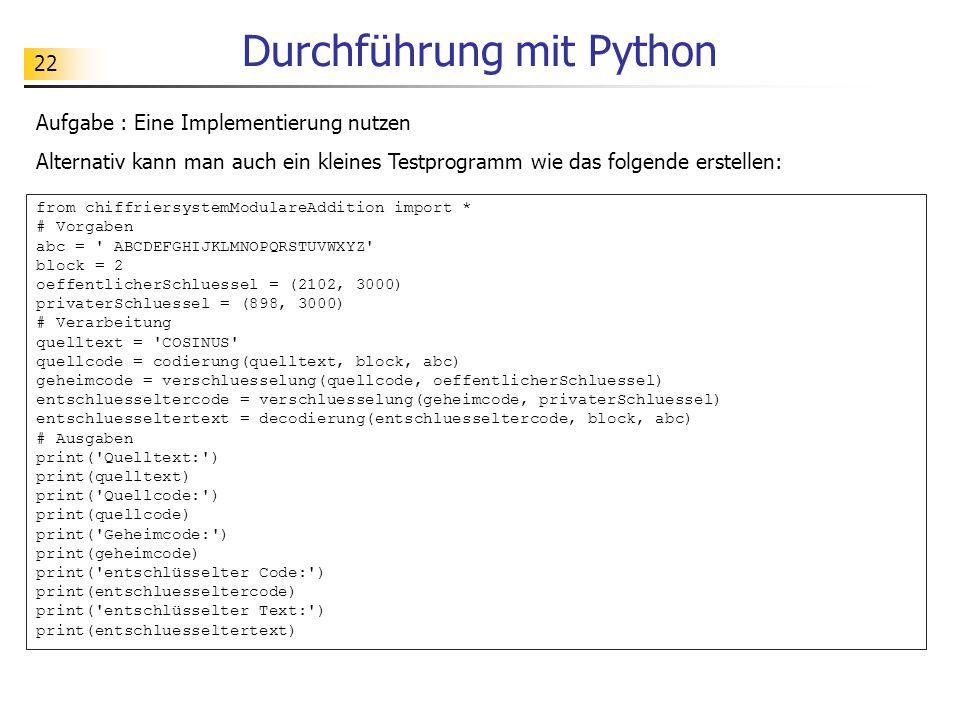 Durchführung mit Python