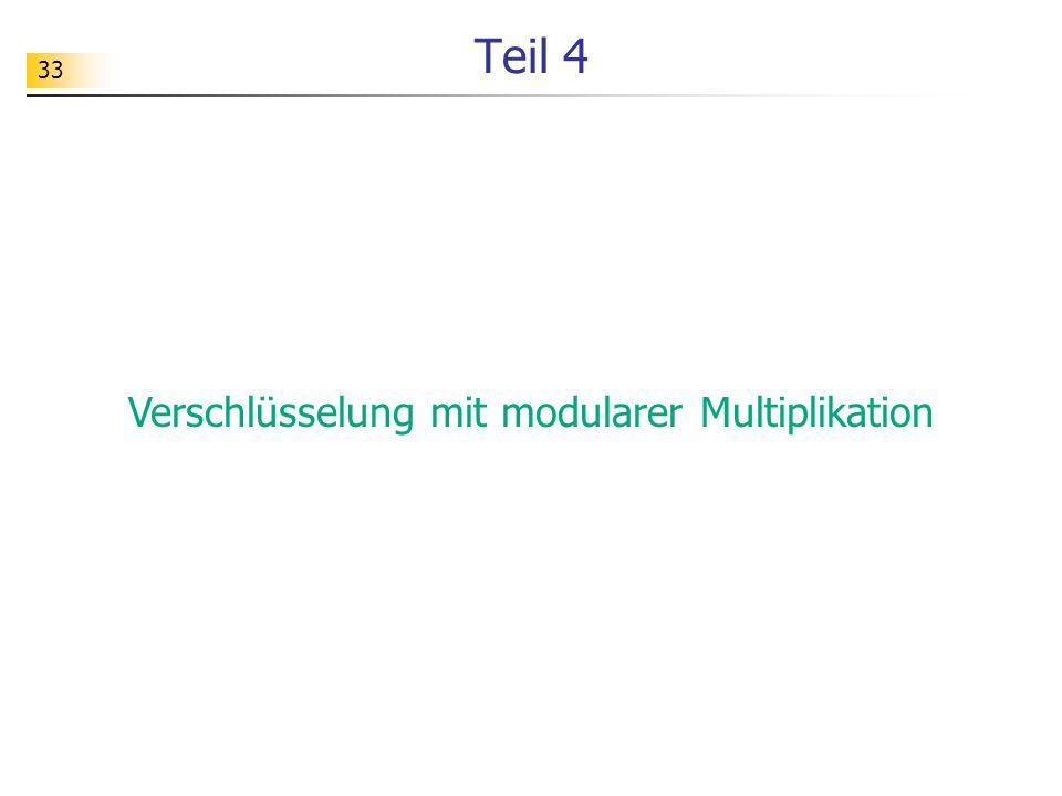 Verschlüsselung mit modularer Multiplikation