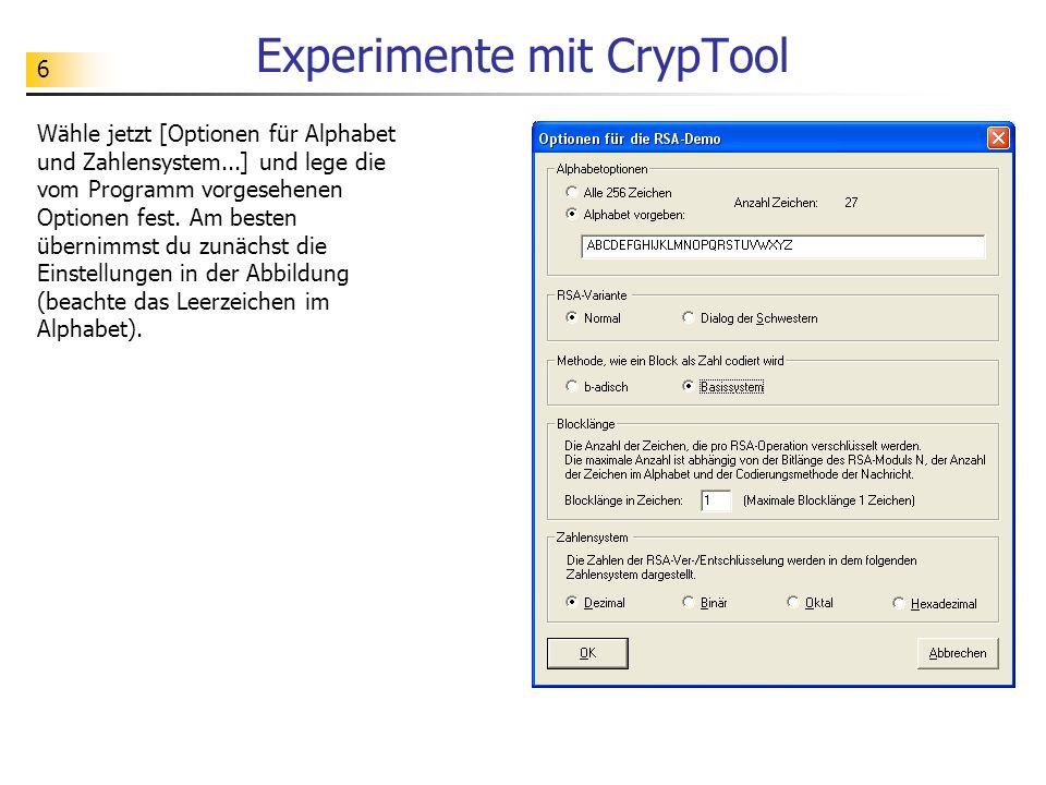 Experimente mit CrypTool