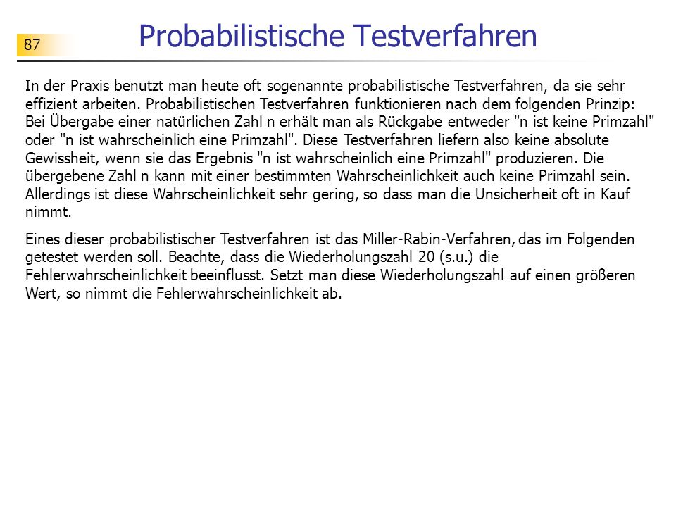 Probabilistische Testverfahren