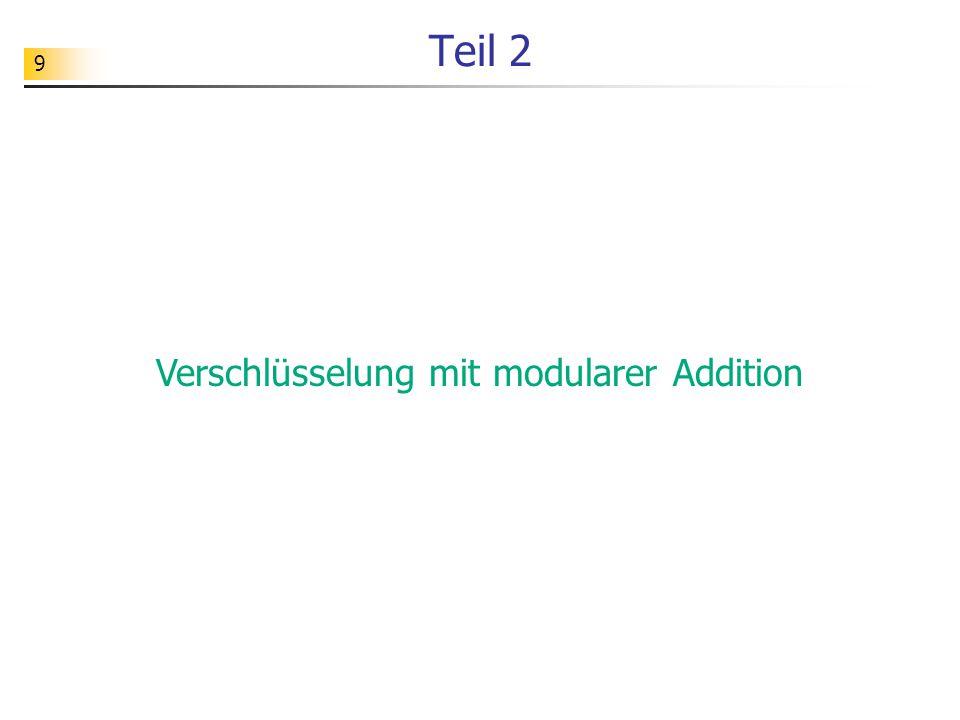 Verschlüsselung mit modularer Addition