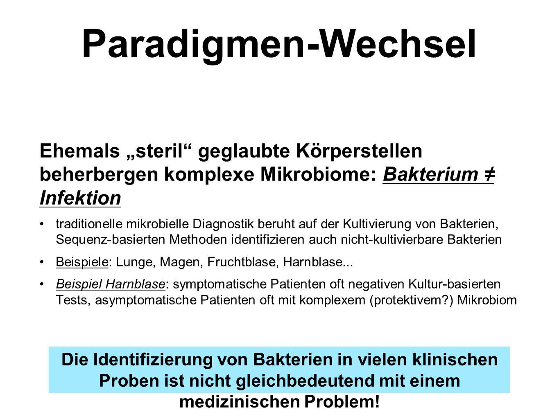"""Paradigmen-Wechsel Ehemals """"steril geglaubte Körperstellen beherbergen komplexe Mikrobiome: Bakterium ≠ Infektion."""
