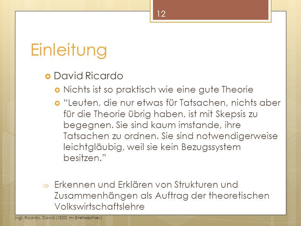 Einleitung David Ricardo Nichts ist so praktisch wie eine gute Theorie