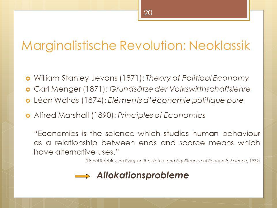 Marginalistische Revolution: Neoklassik
