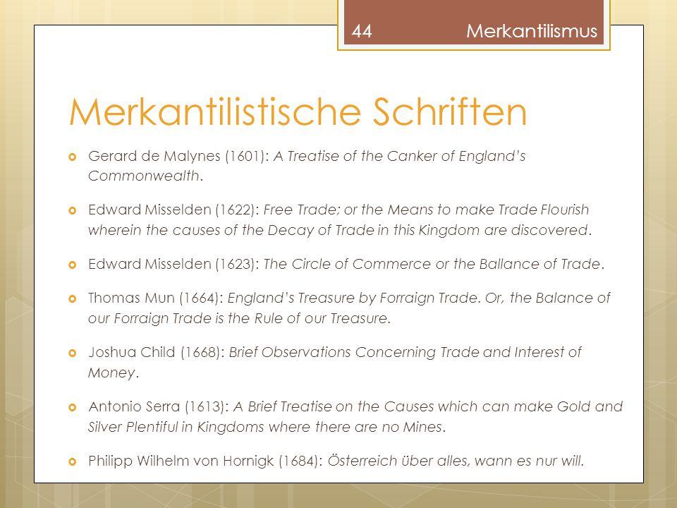 Merkantilistische Schriften