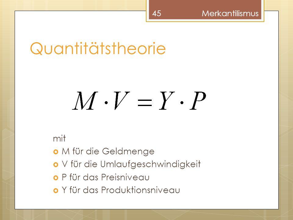 Quantitätstheorie mit M für die Geldmenge
