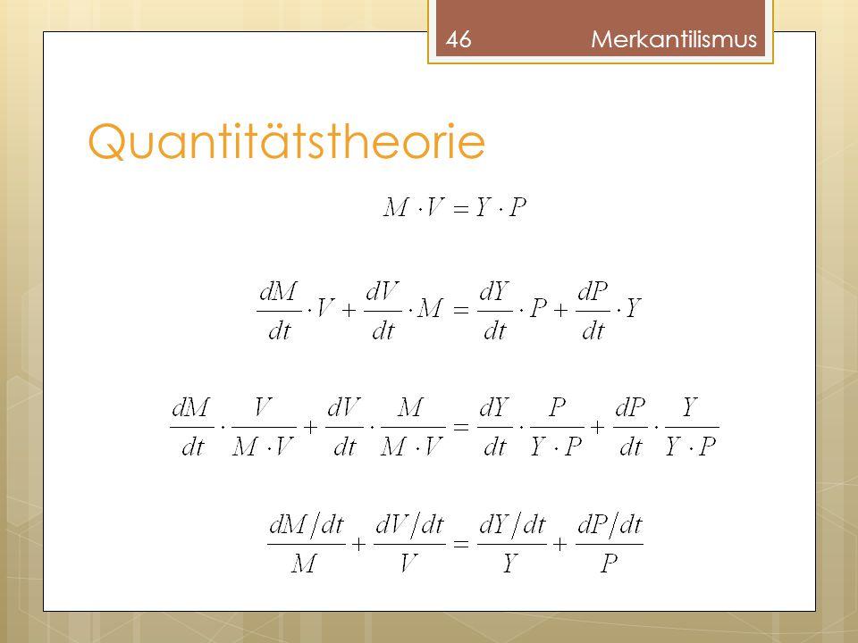 Merkantilismus Quantitätstheorie