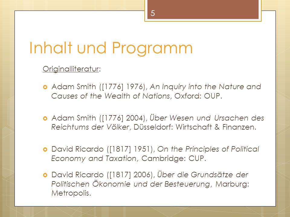 Inhalt und Programm Originalliteratur:
