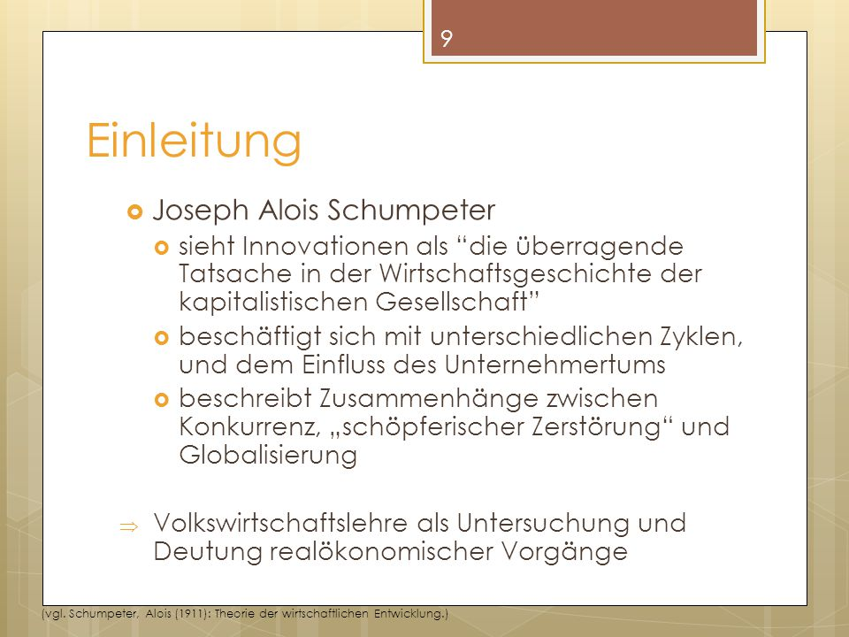 Einleitung Joseph Alois Schumpeter