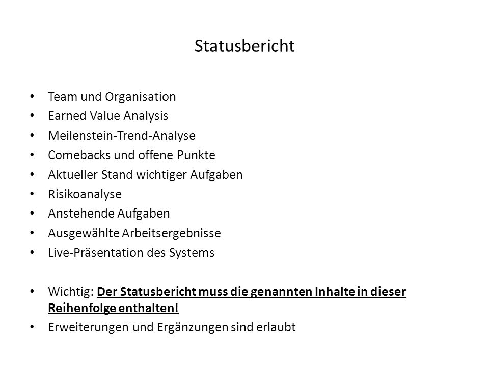 Statusbericht Team und Organisation Earned Value Analysis