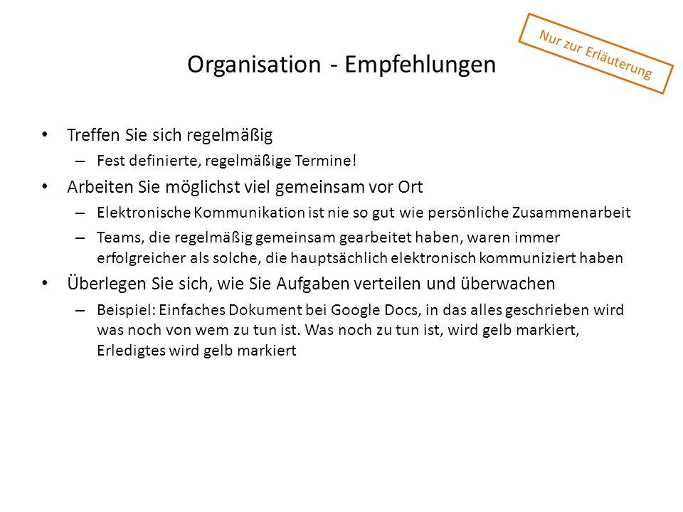 Organisation - Empfehlungen