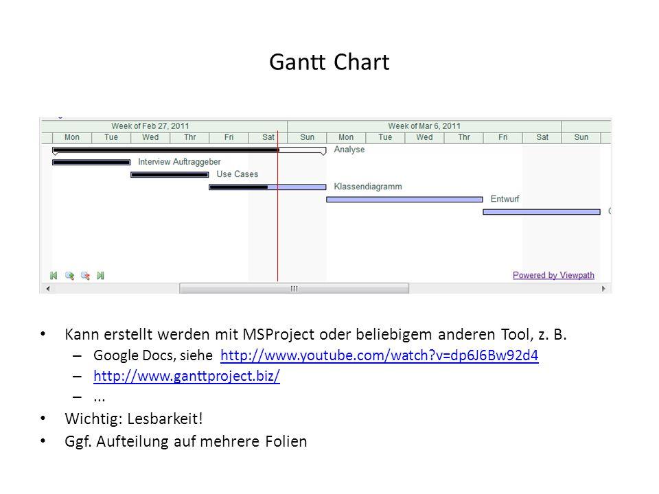 Gantt Chart Kann erstellt werden mit MSProject oder beliebigem anderen Tool, z. B. Google Docs, siehe http://www.youtube.com/watch v=dp6J6Bw92d4.