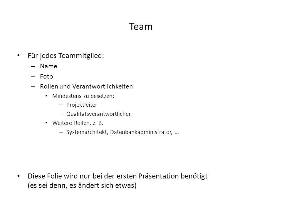 Team Für jedes Teammitglied: