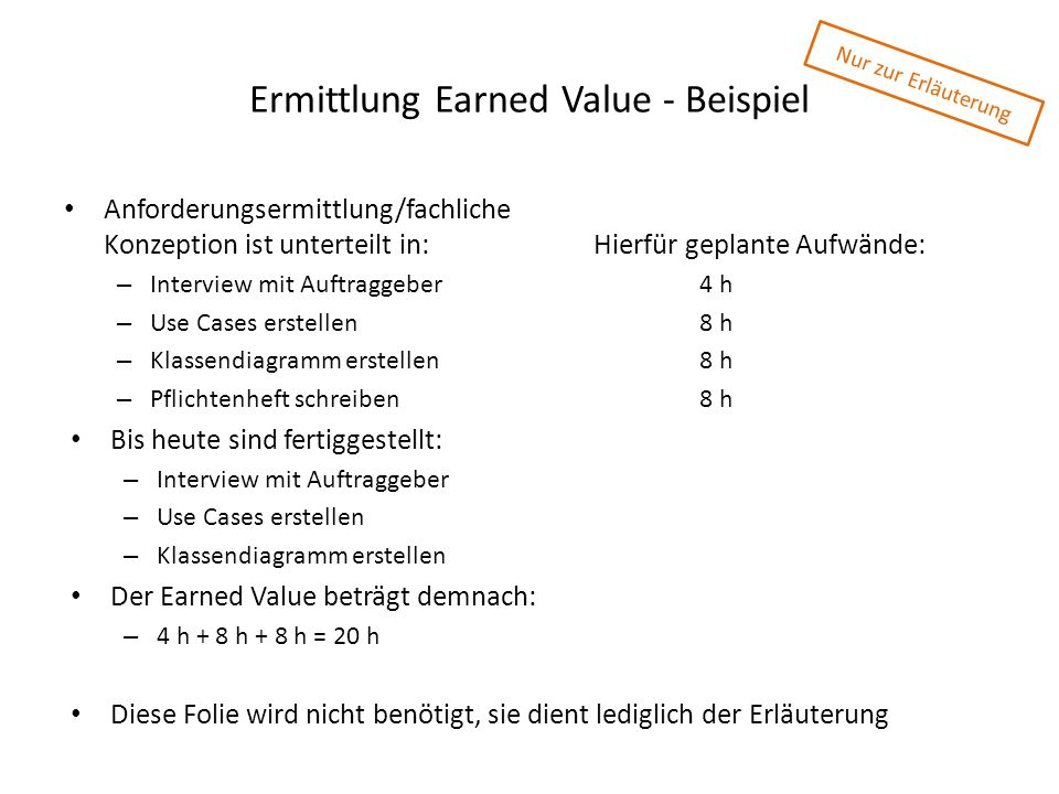 Ermittlung Earned Value - Beispiel
