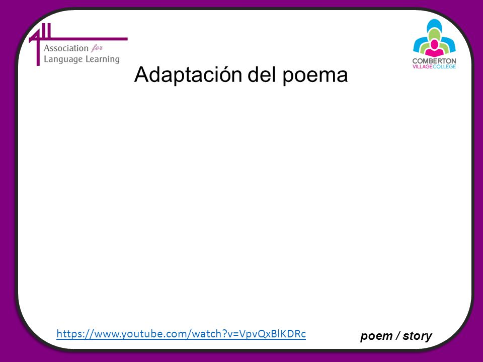 Adaptación del poema https://www.youtube.com/watch v=VpvQxBlKDRc